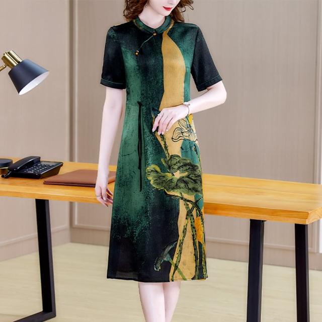 【REKO】墨綠塘荷暈墨國風典雅氣質洋裝M-3XL