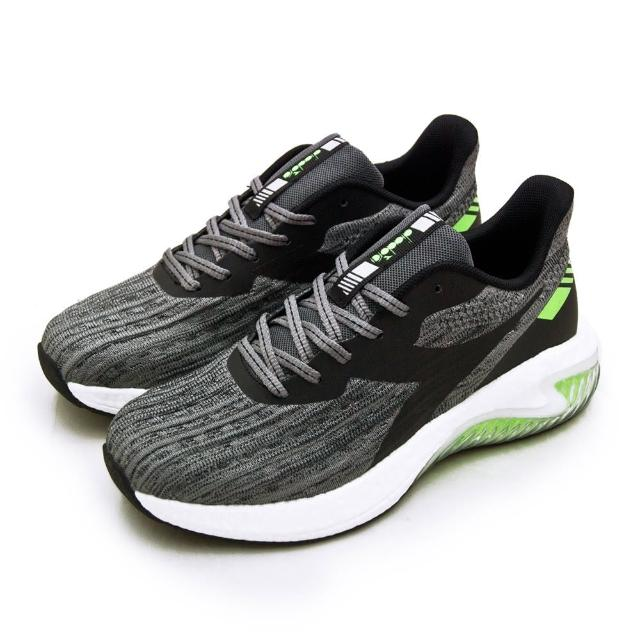 【DIADORA】男 迪亞多那 專業無縫TPU寬楦避震慢跑鞋 ETPU彈力球系列(灰黑綠 73131)