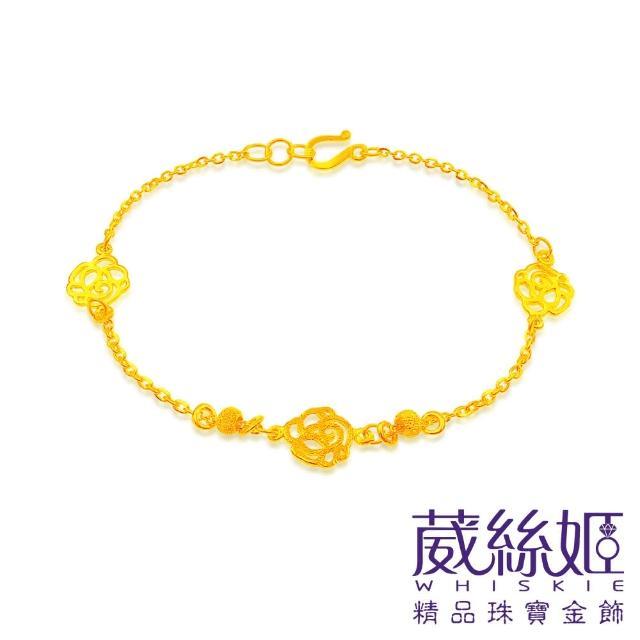 【葳絲姬金飾】9999純黃金手鍊 轉運珠玫瑰-0.89錢±5厘