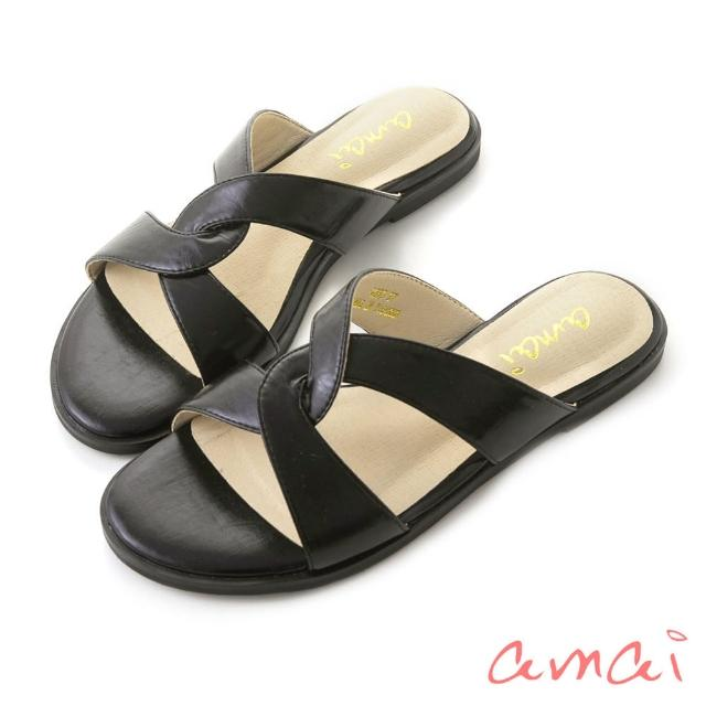 【amai】韓系復古交叉拖鞋(黑)