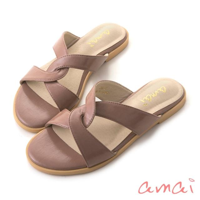 【amai】韓系復古交叉拖鞋(粉)