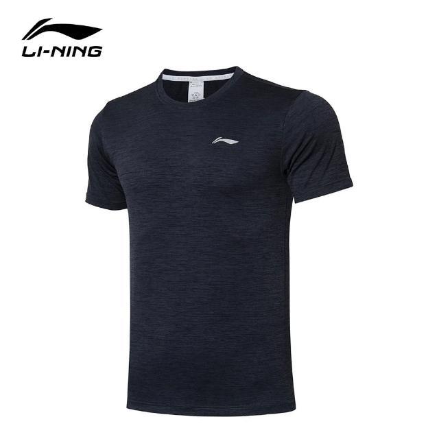 【LI-NING 李寧】跑步系列男子反光速乾涼爽短袖T恤 黑色/墨水灰(ATSR257-5)