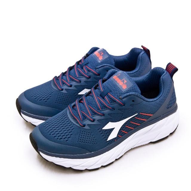 【DIADORA】男 迪亞多那 專業2E寬楦厚底避震慢跑鞋 POWER FOAM系列(藍紅 73127)