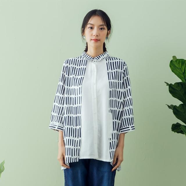 【MOSS CLUB】拼接直條印花襯衫-女七分袖襯衫(二色/版型適中)