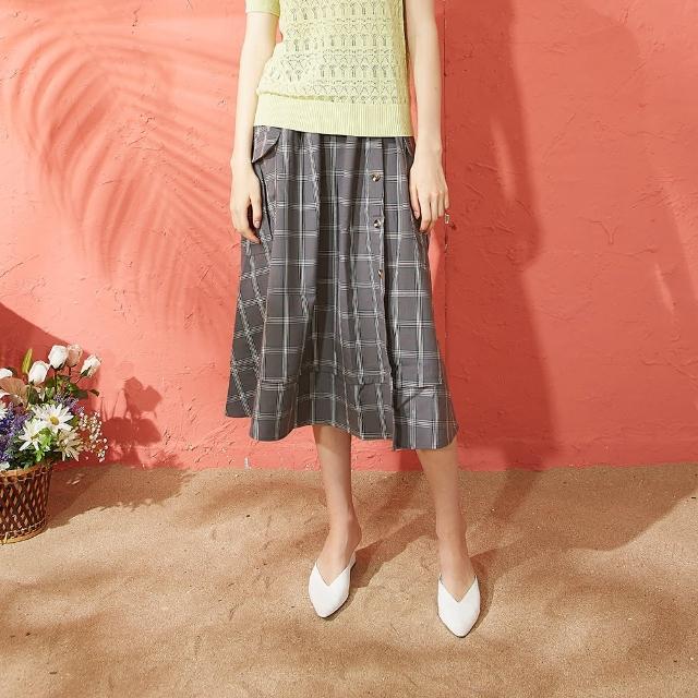 【CUMAR】大口袋格紋-女長裙(二色/版型適中)