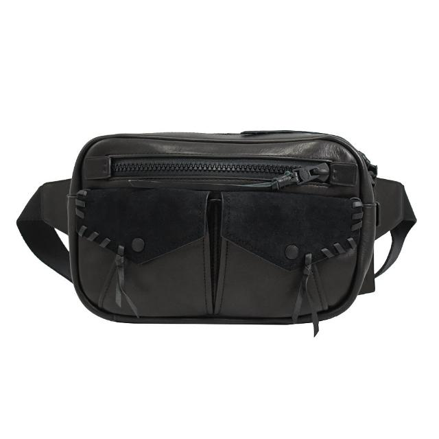 【COACH】專櫃款限量款小牛皮多口袋三用腰包胸口包(黑)