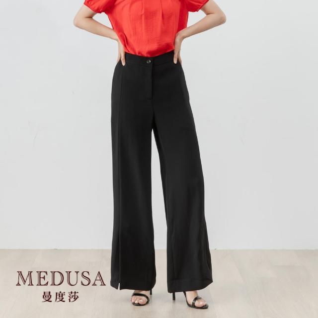 【MEDUSA 曼度莎】前西衩西裝直筒寬褲(M-XL)|上班族穿搭 職場穿搭(601-93302)