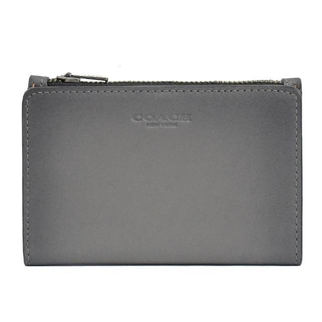 【COACH】經典烙印LOGO全皮革對折信用卡零錢夾(灰)