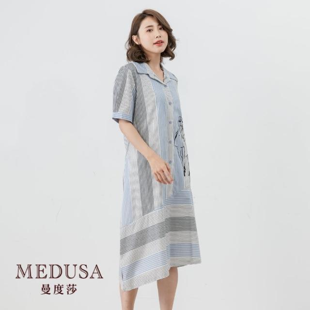 【MEDUSA 曼度莎】條紋斜切純棉襯衫洋裝(M-L)|純棉一件式洋裝|上班族穿搭 職場穿搭(605-34806)