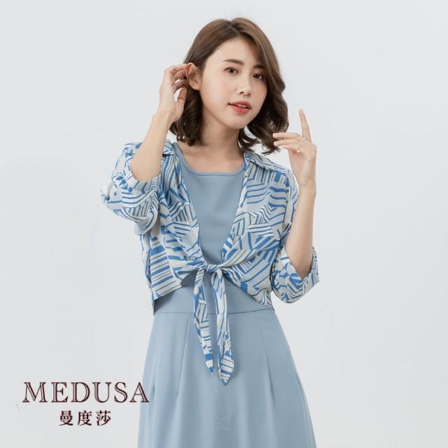 【MEDUSA 曼度莎】幾何花紋短版綁結罩衫(M-2L)|上班族穿搭 職場穿搭(601-31411)