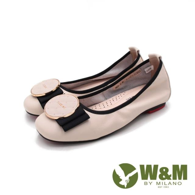 【W&M】女 小心機彈力包邊娃娃鞋 女鞋(米)