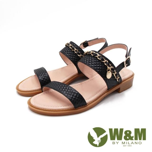 【W&M】女 歐美鍊條菱格紋真皮涼鞋 女鞋(黑)