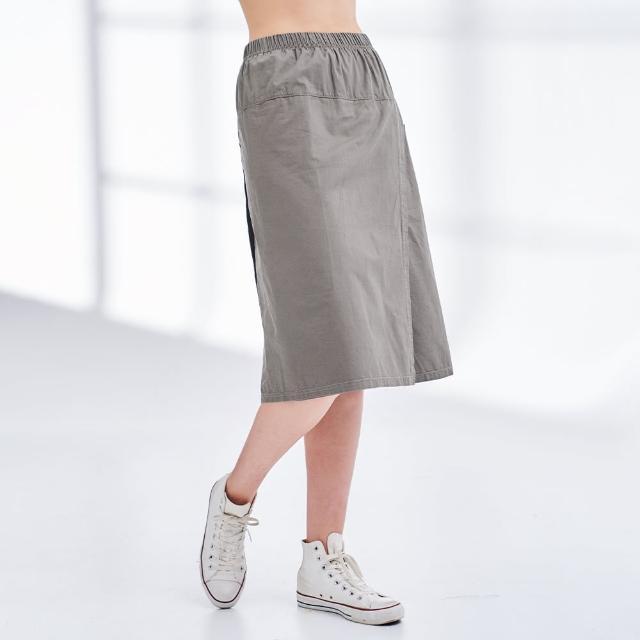 【Lee】薄款鬆緊 側口袋 女牛仔寬褲裙-橄欖綠