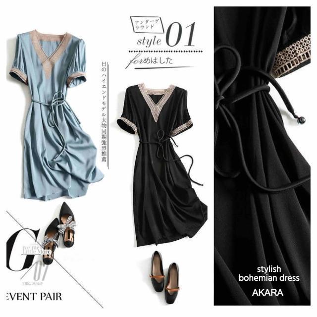 【AKARA】波希米亞拼接麻邊連身裙洋裝