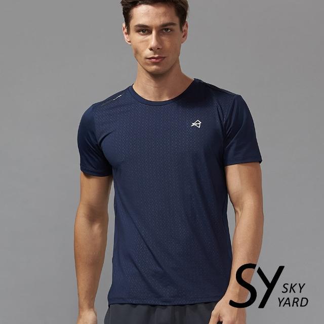 【SKY YARD】素面格紋壓紋前肩飾條運動T恤(深藍)