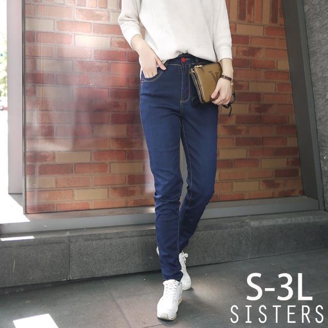 【SISTERS】立體車線造型撞色窄管褲牛仔褲/S-3L(牛仔褲/窄管褲/彈力/顯瘦)