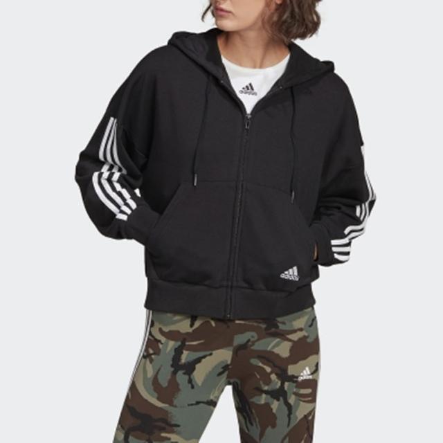 【adidas 愛迪達】外套 女款 連帽外套 運動 慢跑 健身 W 3S FZ HD GL1462 黑