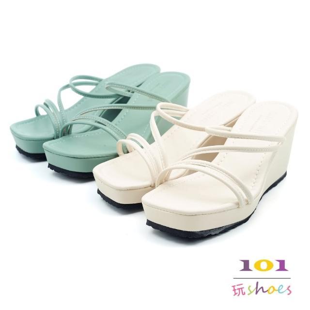 【101 玩Shoes】mit.涼夏冰心細帶厚底楔型拖鞋(綠/米.36-40碼)