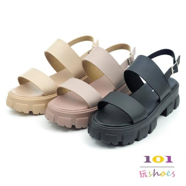 【101 玩Shoes】mit. 日系簡約巧克力齒厚底涼鞋(黑/卡其/可可.36-40碼)