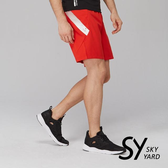 【SKY YARD】側邊色帶印圖運動短褲(紅色)