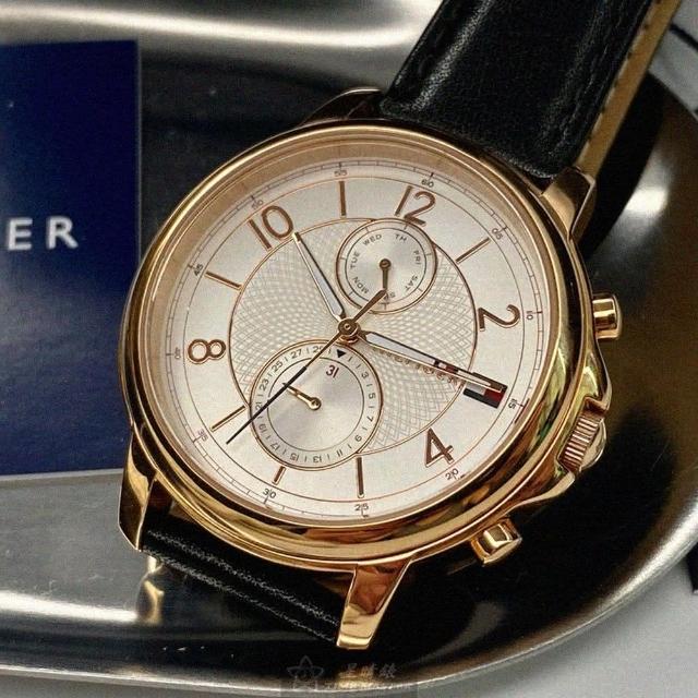【Tommy Hilfiger】湯米希爾費格男女通用錶型號TH00027(白色錶面玫瑰金錶殼深黑色真皮皮革錶帶款)