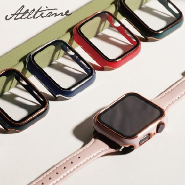【ALL TIME 完全計時】Apple Watch S6/SE/5/4 44mm 鍅瑯風鋼化膜一體錶殼