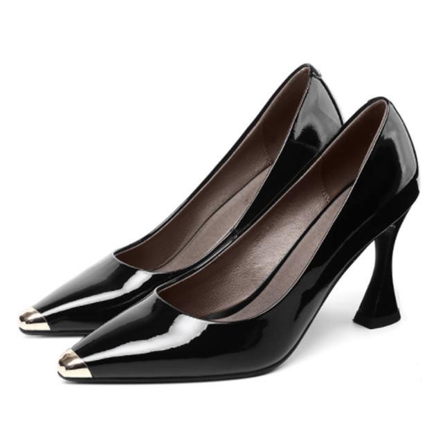 【Sp house】自信美麗閃亮全真牛皮厚底休閒鞋(2色可選)