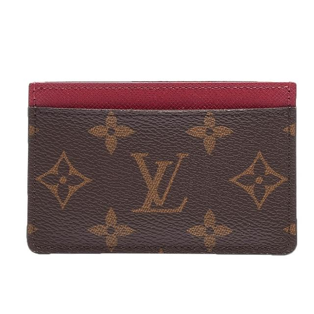 【Louis Vuitton 路易威登】M60703 經典Monogram雙層名片夾(紫紅色)