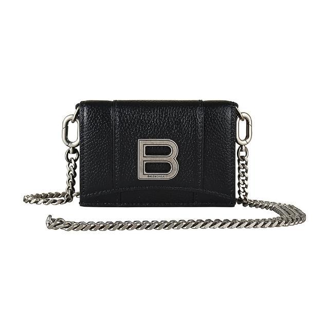 【Balenciaga 巴黎世家】BALENCIAGA經典B字LOGO牛皮三折釦式鏈帶斜背短夾(黑)