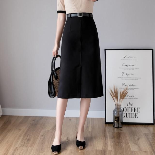 【白色戀人】職場優雅簡約氣質前開衩半身裙S-XL(共二色)