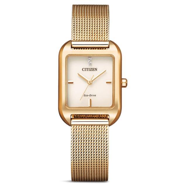 【CITIZEN 星辰】LADYS光動能方形米蘭帶錶-金盞花23.5mm(EM0493-85P)