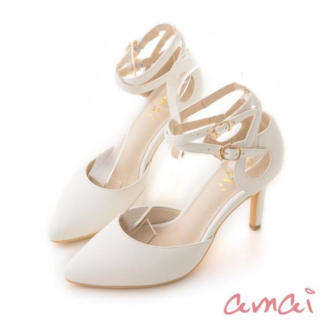 【amai】女神交叉繞踝尖頭高跟鞋(白)