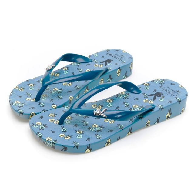 【PLAYBOY】花漾南洋 夏日派對夾腳拖-灰藍-YT7012F