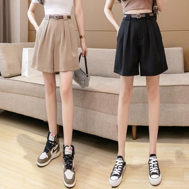 【Alishia】夏季新款寬鬆高腰A字西裝五分褲(現+預 黑色 / 白色 / 卡其色)