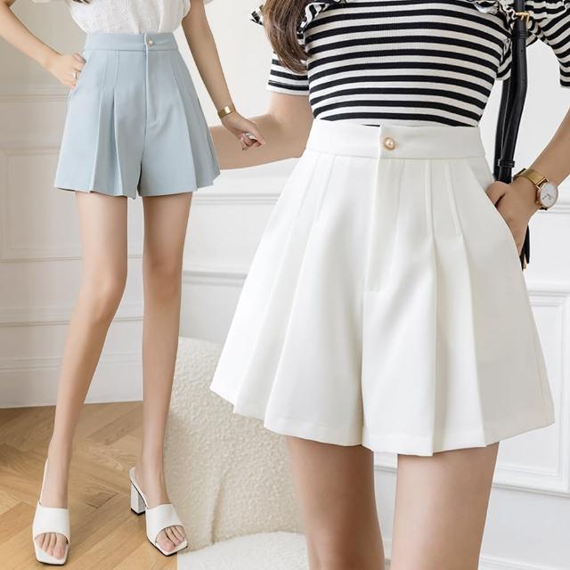 【Alishia】夏日必備顯瘦A字闊腿百褶裙褲 M-2XL(現+預 黑色 / 白色 / 藍色)