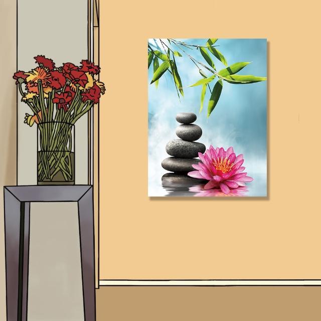 【24mama 掛畫】單聯式 油畫布 溫泉 禪 水 花卉 岩石 寧靜 竹子 植物 靜思語 無框畫-60x80cm(和平睡蓮)