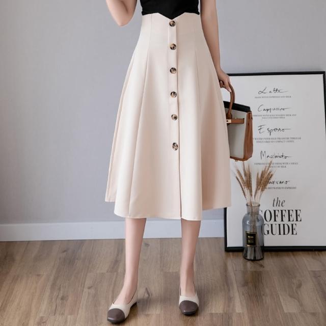 【白色戀人】優雅高腰排扣傘襬中長半身裙S-XL(共三色)