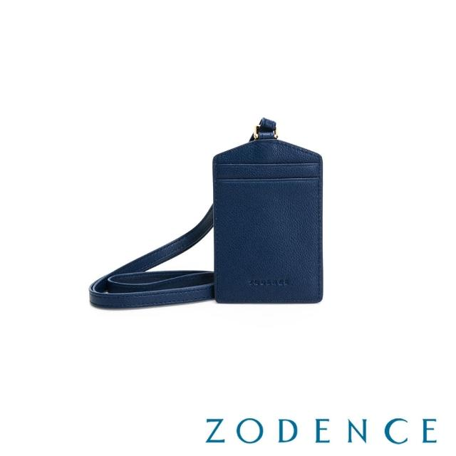 【ZODENCE 佐登司】DUTTI系列進口牛皮頸帶直式證件套(深藍)