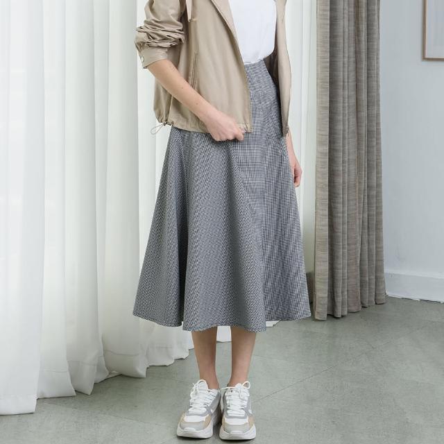 【KiKi】多片剪接格紋裙-女長裙 格紋 黑(黑色/版型合身)