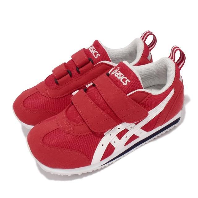 【asics 亞瑟士】休閒鞋 Idaho Mini JP 童鞋 亞瑟士 魔鬼氈 麂皮 日本布料 中童 紅 白(TUM185600)