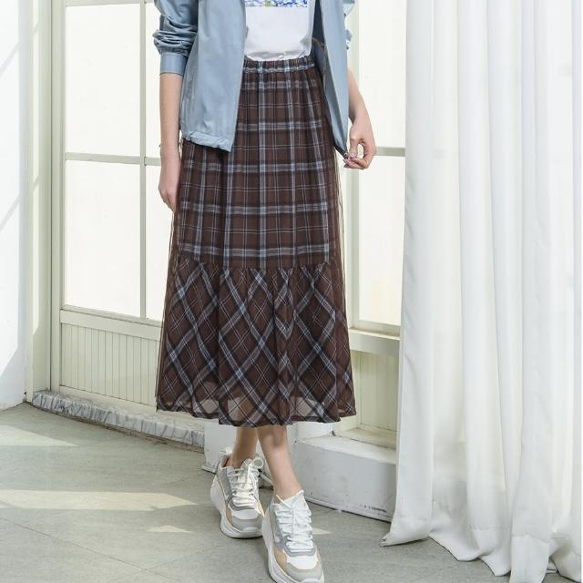【KiKi】格紋紗裙-女長裙 格紋 黑 咖(二色/版型合身)