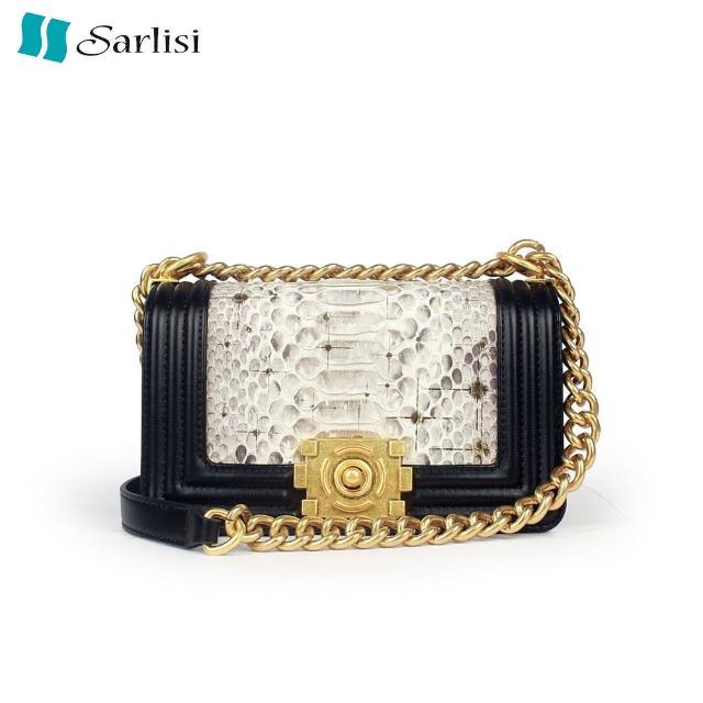 【Sarlisi】泰國進口新款真皮女包蟒蛇皮時尚斜背包百搭夏季頭層牛皮鏈帶包