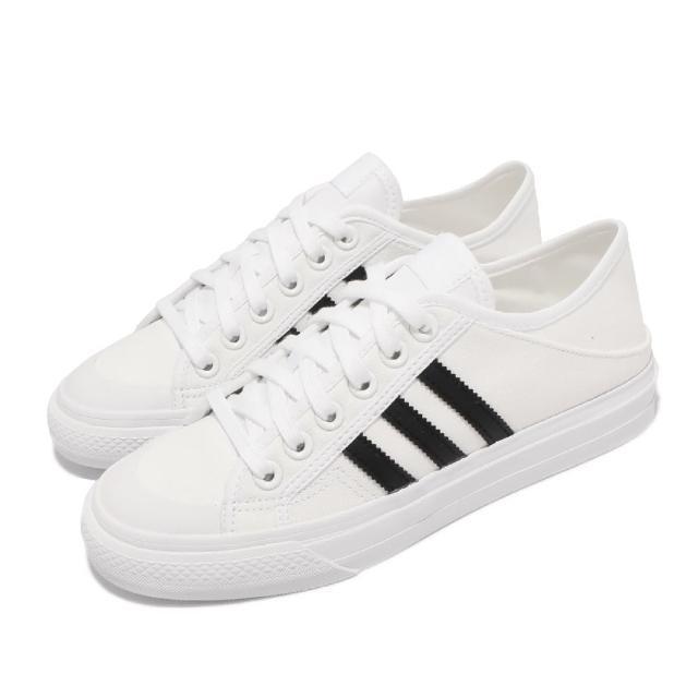 【adidas 愛迪達】休閒鞋 Collapsible Nizza 男女鞋 愛迪達 基本款 帆布 可採後跟 情侶穿搭 白 黑(H67375)
