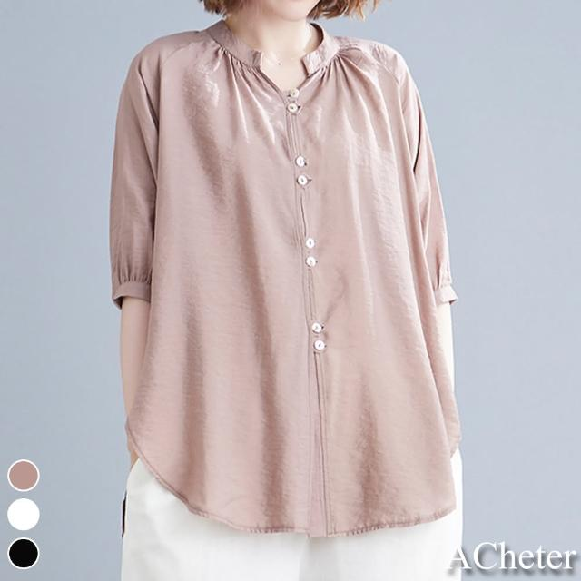 【ACheter】純色百搭休閒亞麻感七分袖襯衫#109979現貨+預購(3色)
