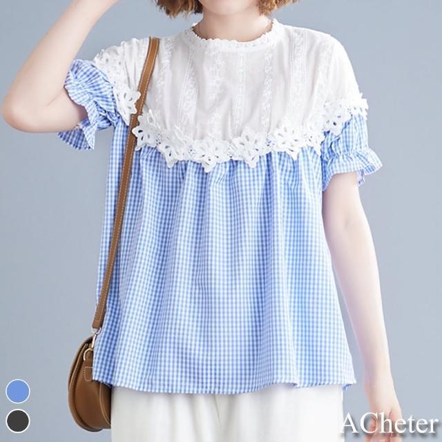 【ACheter】蕾絲花邊拼接格子寬鬆上衣#109978現貨+預購(2色)