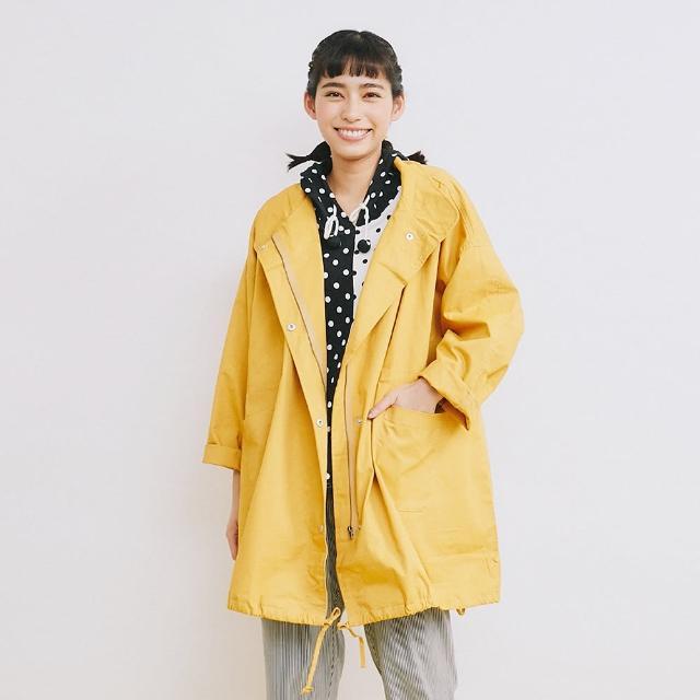 【Dailo】薄棉寬版風衣-女長袖外套 素色 藍 卡 黃(三色/魅力商品/版型寬鬆)