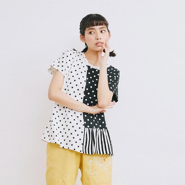 【Dailo】點點拼接棉TEE-女短袖上衣 拼接 白(白色/版型合身)