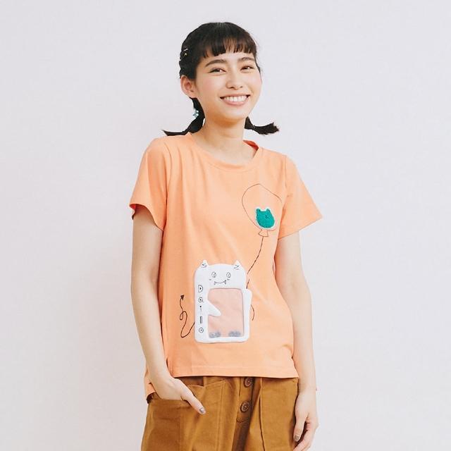 【Dailo】小惡魔糖果機握氣球-女短袖上衣 拼接 藍 桔(二色/版型合身)