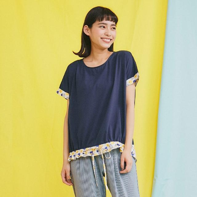 【Dailo】拼接笑臉印花裝飾-女短袖上衣 拼接 藍 桔(二色/版型合身)