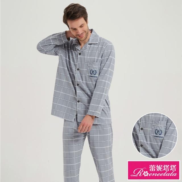 【蕾妮塔塔】紳士灰格紋 男性長袖兩件式睡衣(R08216-6灰格紋)